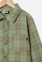 Free by Cotton On - Rocky long sleeve shirt - green plaid check