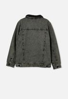 Free by Cotton On - Boys jessie dnm sherpa jacket - washed grey