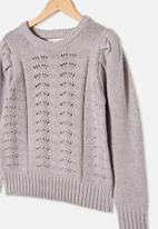 Free by Cotton On - Darla puff sleeve knit jumper - grey marle