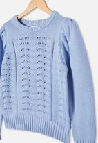 Free by Cotton On - Darla puff sleeve knit jumper - dusk blue