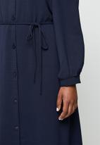 edit - Lantern sleeve mandarin shirt dress - navy