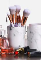 Glam Beauty - 10 Piece Make-Up Brush Set and Case - White Marble