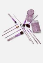 Glam Beauty - 12 Piece Make-Up Brush Set and Case - Glitter Purple