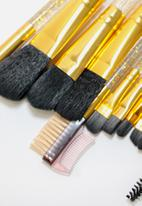 Glam Beauty - 12 Piece Make-Up Brush Set and Case - Glitter Gold