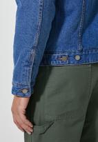 Superbalist - San Fran sherpa lined denim trucker jacket - mid wash blue