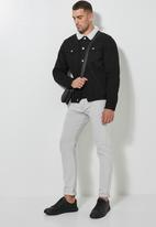 Superbalist - San Fran sherpa lined denim trucker jacket - black