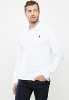 POLO - Mens classic stretch pique ls golfer- white