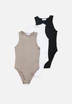 Superbalist - 3 pack hi neck cutaway bodysuit  - multi