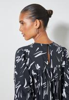 Superbalist - Empire cutline tiered dress with tie detail - charcoal & white