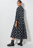 Superbalist - Hi neck tiered dress - charcoal & white
