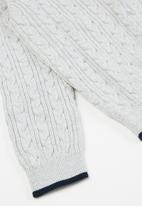 POLO - Girls madison cable knitted cardigan - grey