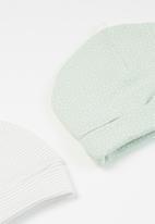 Superbalist Kids - Baby girls 2 pack printed beanies - green & white