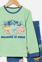 Cotton On - Orlando long sleeve pyjama set - dreaming dinosaur & spearmint