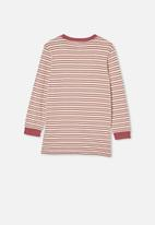Free by Cotton On - Free boys long sleeve tee - dark vanilla / vintage berry stripe