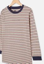 Free by Cotton On - Free boys long sleeve tee - dark vanilla / indigo stripe
