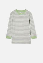 Free by Cotton On - Free boys long sleeve tee - lt grey marle / spearmint stripe