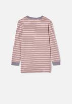 Free by Cotton On - Free boys long sleeve tee - zephyr / steel stripe
