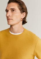 MANGO - Ten Cotton Cashmere-blend  sweater knitwear - mustard yellow