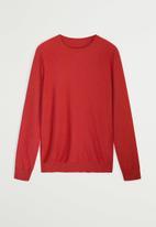 MANGO - Ten Cotton Cashmere-blend  sweater knitwear - red