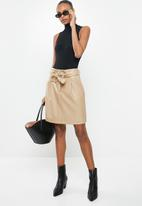 Vero Moda - Solamynte short coated skirt - taupe