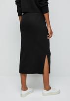 edit - Ribbed knitwear skirt - black