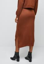 edit - Ribbed knitwear skirt - rust