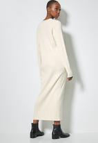 Superbalist - Organic cotton ribbed button thru knitwear dress - neutral