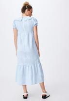 Cotton On - Woven nori babydoll wide collar medaxi dress - geri gingham collegiate blue