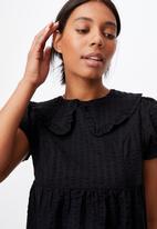 Cotton On - Woven nori babydoll wide collar medaxi dress - black
