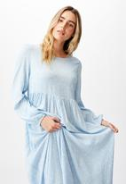 Cotton On - Woven kimberly babydoll long sleeve maxi dress - riddle ditsy dusk blue