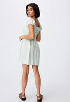 Cotton On - Woven frankie puff sleeve shirred fit and flare mi - riddle ditsy spring mint