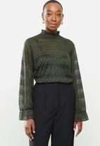Jacqueline de Yong - Madelyn long sleeve smock top - olive