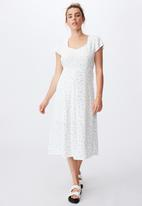 Cotton On - Woven cleo tie back midi dress - riddle ditsy white