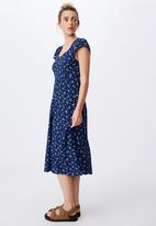 Cotton On - Woven cleo tie back midi dress - riddle ditsy medieval blue