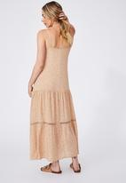 Cotton On - Woven becky strappy ruffle maxi dress - ashlee ditsy caramel brown