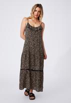 Cotton On - Woven becky strappy ruffle maxi dress - ashlee ditsy black