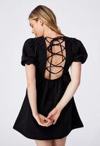 Cotton On - Denim open back babydoll mini dress - black