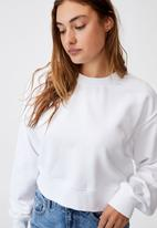Cotton On - Classic cropped crew - white