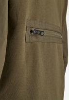 G-Star RAW - Mixed woven baseball zip through long sleeve sweat - olive