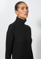 Superbalist - Organic cotton chunky roll neck dress - black