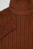 Superbalist - Organic cotton chunky roll neck dress - tobacco