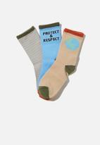 Cotton On - Kids 3 pack crew socks - blue & beige
