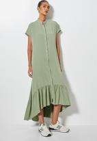 Superbalist - Single tiered mandarin collar shirt dress - sage