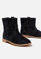 Cotton On - Slouch western boot - black