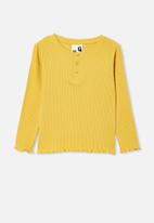 Cotton On - Lucy long sleeve henley - yellow
