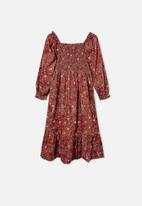 Free by Cotton On - Isla long sleeve dress - rust