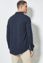 Superbalist - Barber regular fit long sleeve knit shirt - navy