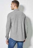 Superbalist - Barber regular fit long sleeve knit shirt - light grey
