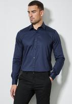 Superbalist - Jos slim fit cotton sateen long sleeve shirt - navy