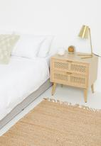 Sixth Floor - Rattan 2 drawer bedside table - natural